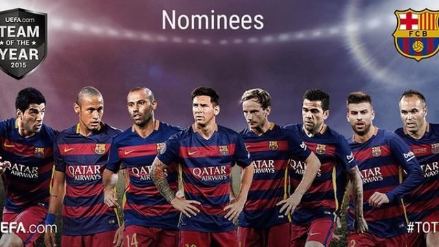 Huit joueurs du Barça sont nommés pour l'équipe-type européenne 2015