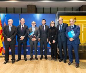 Pont, Cardoner, Bocquenet, Bartomeu, Folch, Angulo and Martos in the Presidential Box on Tuesday