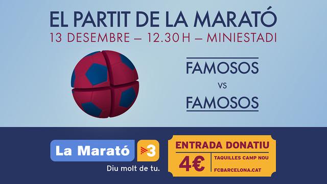 Cartell del partit de famosos de La Marató amb una pilota blaugrana