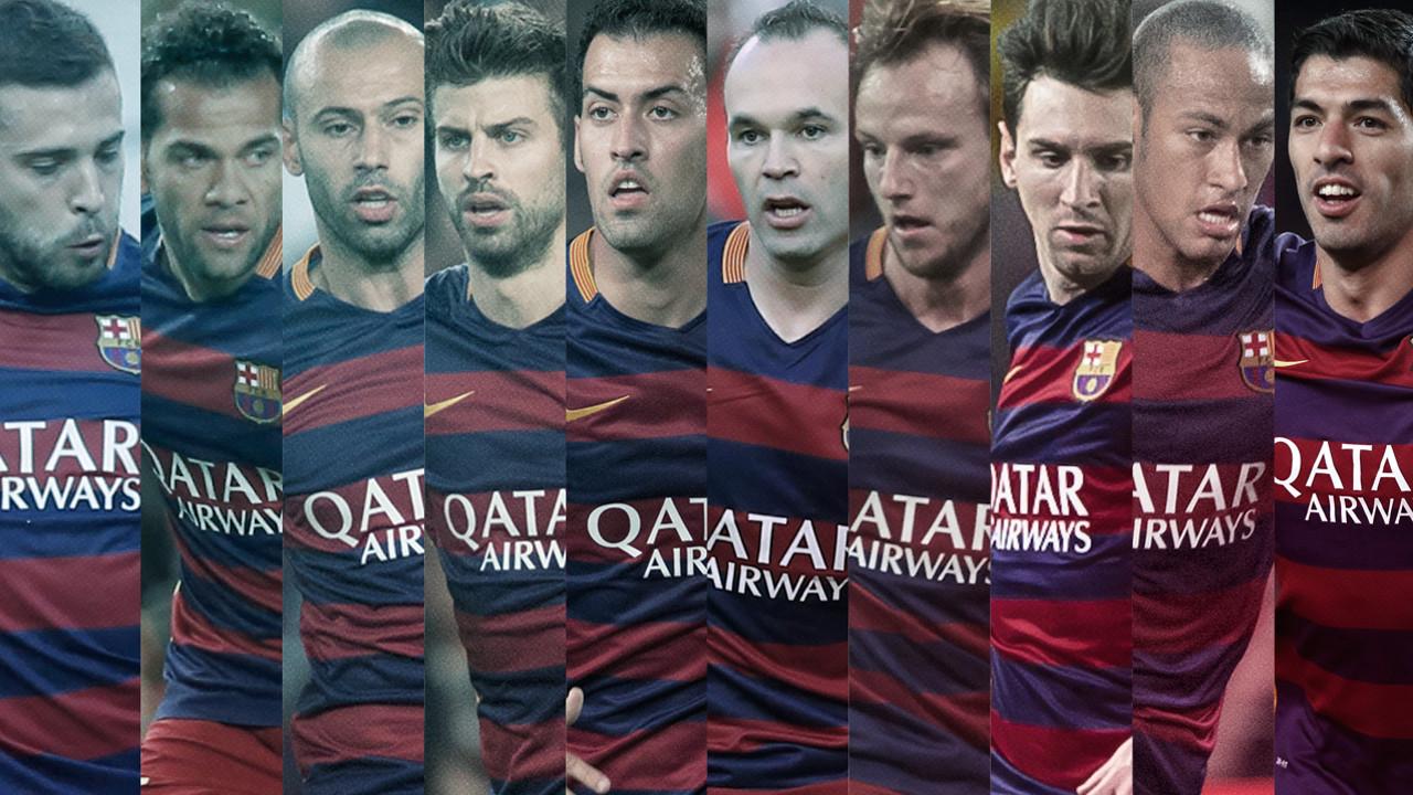 Alba, Alves, Mascherano, Piqué, Sergio, Iniesta, Rakitic, Messi, Neymar Jr. i Suárez, els precandidats. / FOTOMUNTATGE-FCB