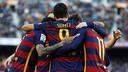 Barça celebrate Suárez's volley / MIGUEL RUIZ - FCB