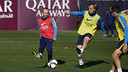 Rakitic and Iniesta train at the Ciutat Esportiva on Tuesday, 1 December 2015. / MIGUEL RUIZ - FCB