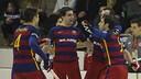 The Barça players celebrate one of their three goals / VÍCTOR SALGADO-FCB