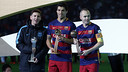 Messi, Suárez and Iniesta with their prizes / MIGUEL RUIZ - FCB