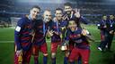 Messi, Iniesta, Sergio, Alves and Piqué: the three time winners / MIGUEL RUIZ - FCB
