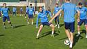 Barça B squad were back in training at Ciutat Esportiva on Monday / VICTOR SALGADO - FCB