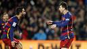 Arda Turan and Leo Messi celebrate the latter's opener against Espanyol / MIGUEL RUIZ-FCB