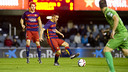 Dani Romera debuted with Barça B on Saturday evening at the Mini Estadi. / VÍCTOR SALGADO - FCB