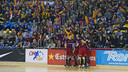 The Catalans celebrate scoring against Liceo / VICTOR SALGADO - FCB