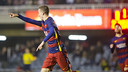 Juan Cámara celebrates his 57th minute goal on Saturday night. / VICTOR SALGADO - FCB