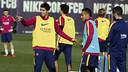 Suárez y Neymar, en el entrenamiento / MIGUEL RUIZ - FCB