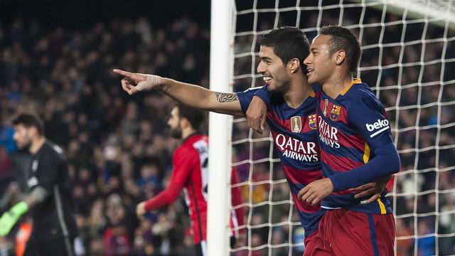 Neymar Jr and Luis Suárez celebrate goal in recent Copa del Rey match against Athletic / VICTOR SALGADO - FCB