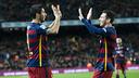 Luis Suárez et Leo Messi célèbrent leur réussite face à Valence / VICTOR SALGADO - FCB