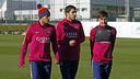 Neymar Jr, Suárez et Messi à l'entraînement vendredi/ MIGUEL RUIZ - FCB