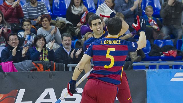 Lucas Ordoñez and Marc Gual celebrating one of the goals v Iserholn  / VICTOR SALGADO - FCB