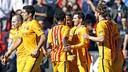 El Barça celebra el primer gol contra el Llevant / MIGUEL RUIZ - FCB