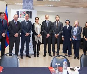 Representants del FCB, ROTA i l'Unicef en una reunió de treball recent.