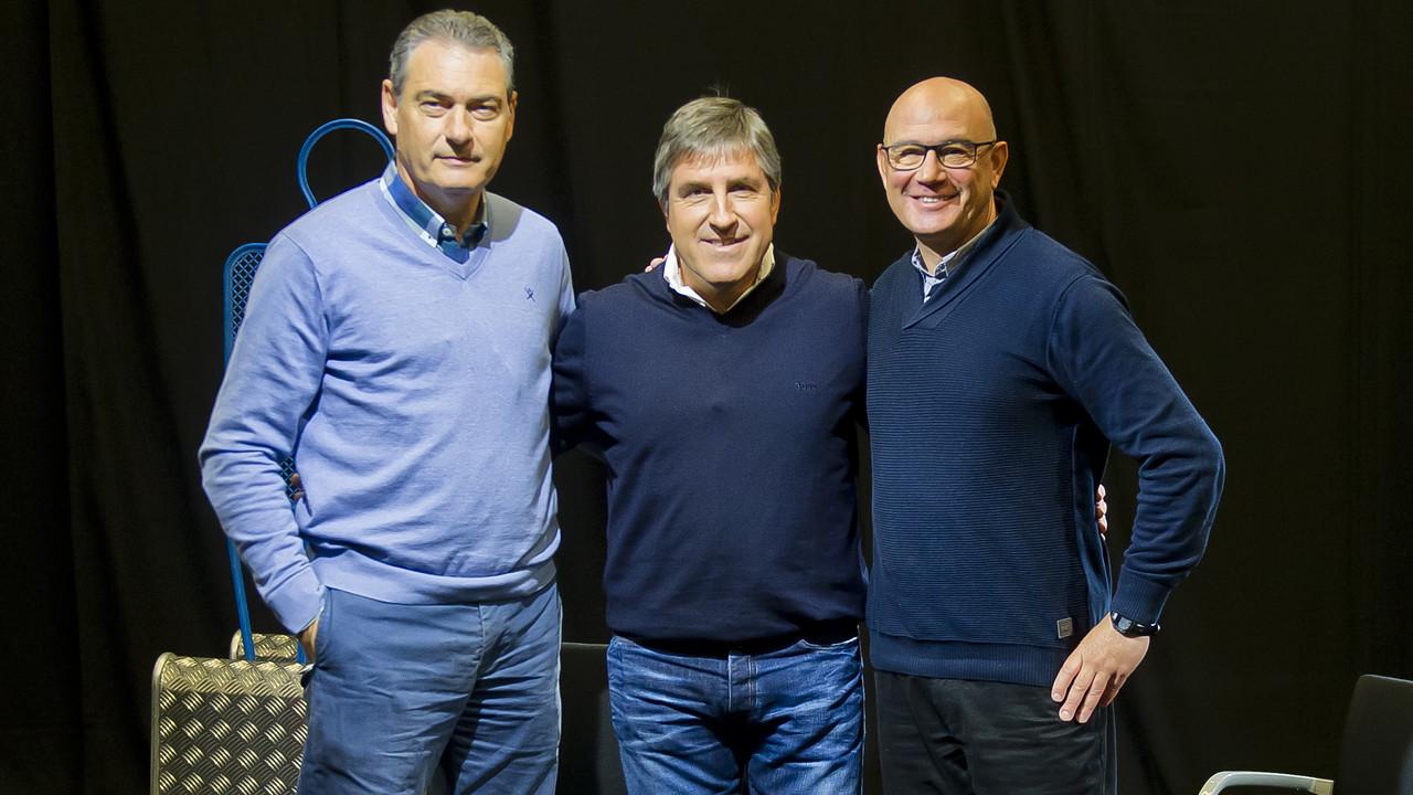 Josep Segura, Jordi Roura i Xavi Llorens, al plató / VÍCTOR SALGADO-FCB