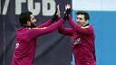 Arda Turan i Messi durant l'entrenament d'aquest dijous / MIGUEL RUIZ - FCB