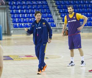 Xavi Pascual, en un entrenament d'aquesta temporada al Palau