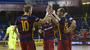 Bateria and Wilde celebrate a goal against Levante at the Palau / VICTOR SALGADO - FCB