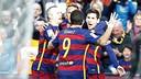 The Trident, joined by Andrés Iniesta (left) will lead FC Barcelona's vaunted attack versus Getafe on Saturday. / VÍCTOR SALGADO-FCB
