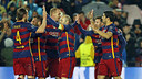 Barça celebrate one of their three goals versus Arsenal on Wednesday night. / MIGUEL RUIZ - FCB