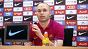 Andrés Iniesta speaks to the media in the buildup to Saturday's El Clásico. / MIGUEL RUIZ - FCB
