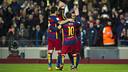 MSN celebrate one of their goals against Valencia this season / MIGUEL RUIZ - FCB