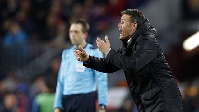 Luis Enrique, durante el partido de ida contra el Atlético de Madrid / MIGUEL RUIZ - FCB