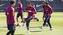 月曜日の練習でのネイマール、アルダ、メッシ、ムニル、セルジ・ロベルト / MIGUEL RUIZ - FCB