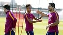 El trident, en l'entrenament d'aquest dissabte / MIGUEL RUIZ - FCB