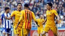 Suárez celebrates one of his four goals with Neymar Jr and Bartra, who both also get on the scoresheet / MIGUEL RUIZ-FCB