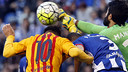 Messi and Depor keeper Manu in action on Wednesday night / MIGUEL RUIZ - FCB