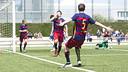 Kun Temenuzkhov celebrates a fine goal against Espanyol / VICTOR SALGADO - FCB