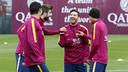 Messi, Suárez, Neymar Jr y Piqué durante la sesión de este sábado en la Ciudad Deportiva / MIGUEL RUIZ - FCB