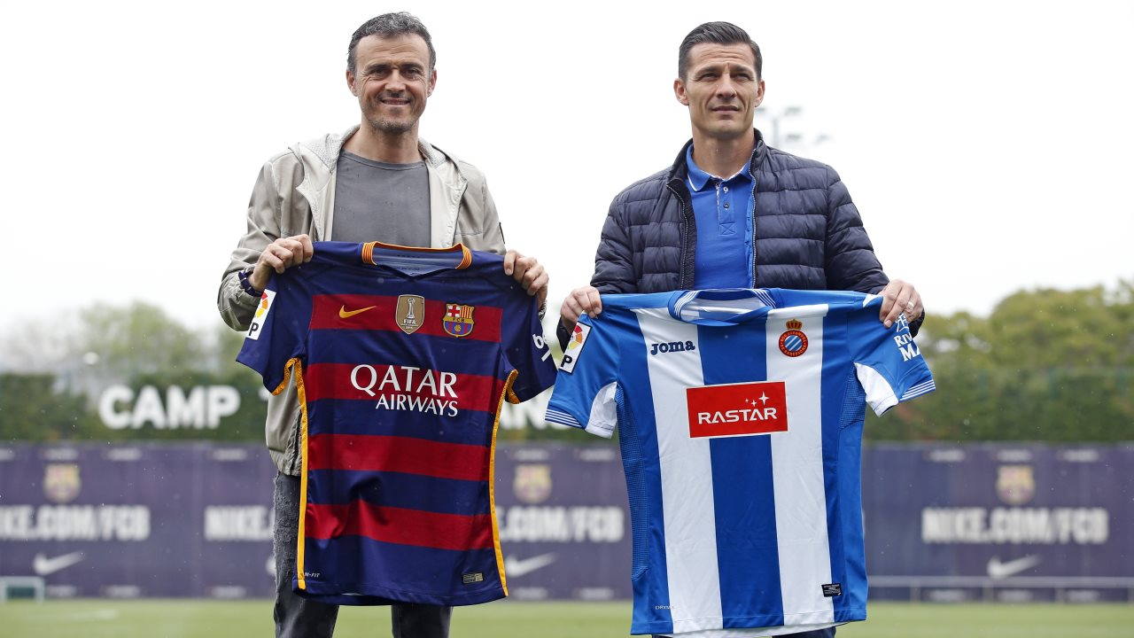 Luis Enrique and Constantin Galca meet the day before the Liga derby