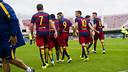 Los jugadores del Barça B, celebrando un gol de Dani Romera / VICTOR SALGADO-FCB