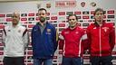 Los cuatro técnicos de la Final Four, tras la rueda de prensa / VÍCTOR SALGADO-FCB