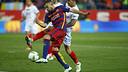 Jordi Alba en el momento previo antes de marcar el primer gol de la final contra el Sevilla / MIGUEL RUIZ - FCB