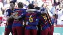 Barça celebrate one of the goals at Granada on the final day of La Liga / MIGUEL RUIZ - FCB