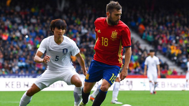 Jordi Alba in action for Spain against South Korea on Wednesday/ FIFA.COM